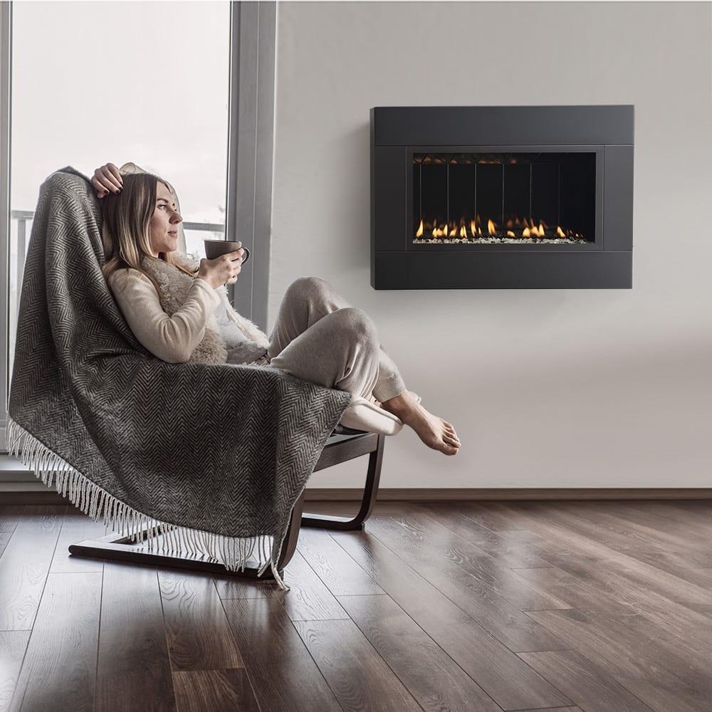TWENTY6 Direct Vent Fireplace with Satin Black Surround